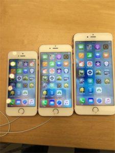 左から、iPhoneSE,iPhone6s,iPhone6sPlusです。
