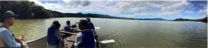 屈斜路のカヌーよりパノラマ写真。台風の影響で、湖面が濁っています。