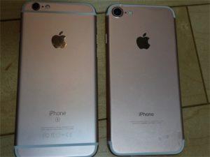 iPhone6SとiPhone7の比較。裏面です。