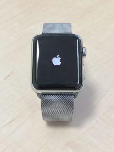 Apple Watchの電源を初めて投入しました。小さなリンゴマークですよね。