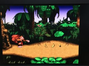 ミニスーパーファミコン、スーパードンキーコングのプレイ中画面