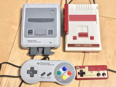 ミニファミコンとミニスーパーファミコンとのツーショット写真