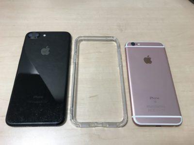 エレコム製品のiPhoneX用のバンパー、iPhone6SとiPhoneu7PlusJBと並べて写真撮影